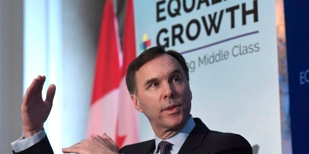 Minister of Finance Bill Morneau participates in a post-budget discussion at the Economic Club of Canada...