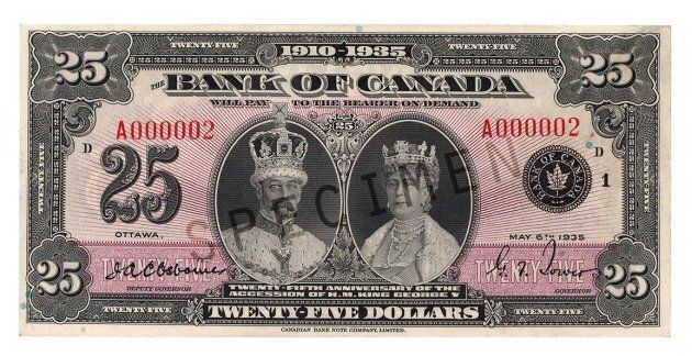 A 1935 commemorative $25 bill. The bill will no longer be legal tender in Canada, under plans unveiled in the Liberals' 2018 budget.