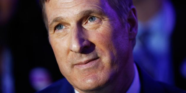 Maxime Bernier watches during the Conservative Party of Canada leadership convention in Toronto on May 27, 2017.