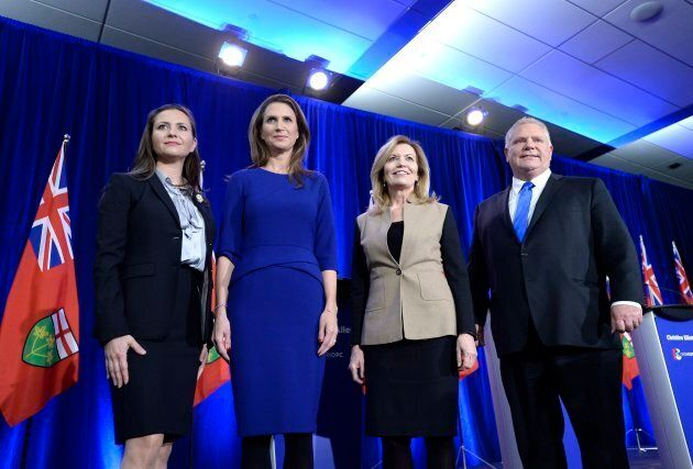 Ontario PC leadership candidates Tanya Granic Allen, Caroline Mulroney, Christine Elliott and Doug Ford...