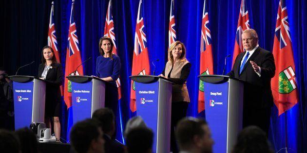 Ontario PC leadership candidate Doug Ford speaks as candidates Tanya Granic Allen, left, Caroline Mulroney...