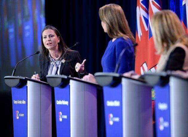 Ontario PC leadership candidate Tanya Granic Allen participates in the debate.