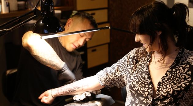 Frances gets a tattoo to cover her old scars at Black Widow Tattoo in
