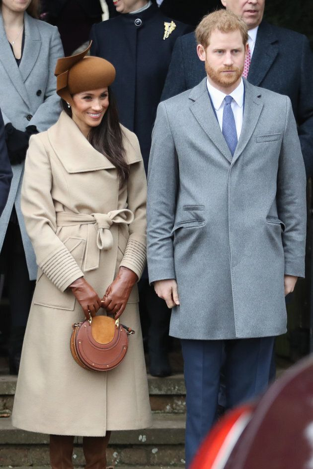 Meghan Markle in a Sentaler coat at Christmas Day church service.