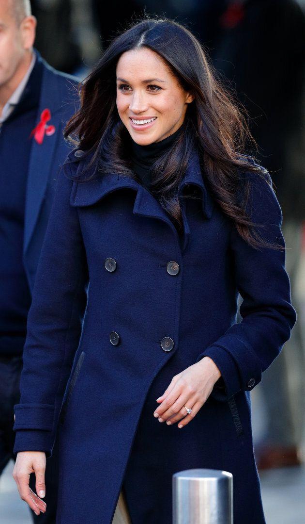 Meghan Markle wearing a Mackage coat in Nottingham, U.K.