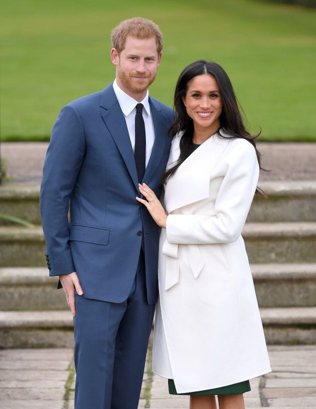 Prince Harry and Meghan Markle at their official engagement photocall at Kensington Palace.