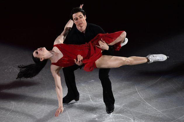 Tessa Virtue is basically a Greek goddess at this point as she and Scott Moir perform during the figure...