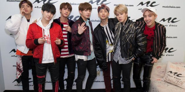 Jin, Suga, J-Hope, Rap Monster, Jimin, V and JungKook of the South Korean boy band 'BTS' visit Music...