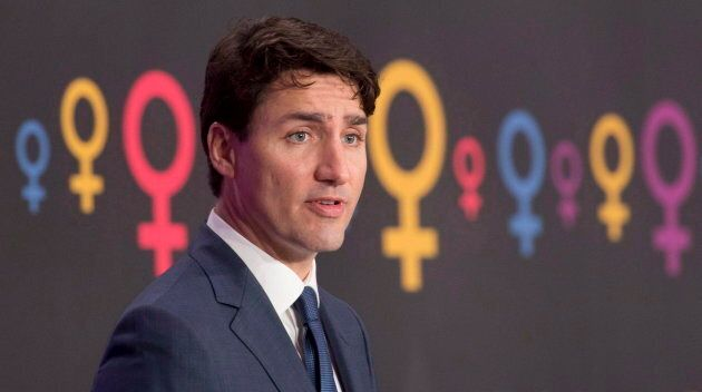 Prime Minister Justin Trudeau speaks during an event on International Women's day in Ottawa, on March...