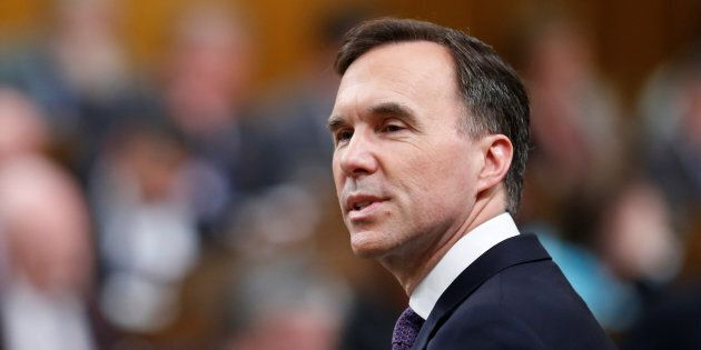 Finance Minister Bill Morneau delivers the budget in the House of Commons on Parliament Hill in Ottawa,...