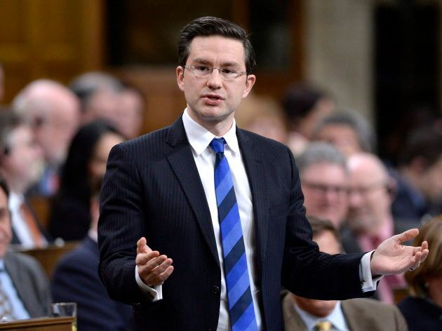 Conservative MP Pierre Poilievre asks a question during Question Period in the House of Commons on Parliament...