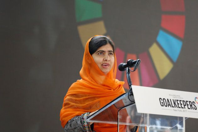 Malala Yousafzai speaks at the Bill and Melinda Gates Foundation Goalkeepers event in Manhattan, New York, U.S., Sept. 20, 2017.