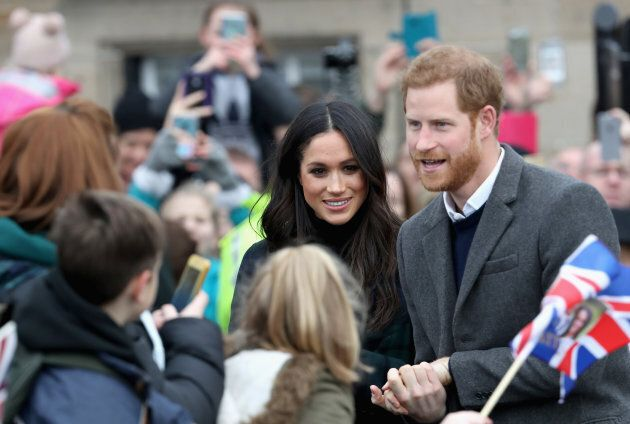 Prince Harry and Meghan Markle visit Edinburgh Castle on Feb. 13, 2018 in Scotland.