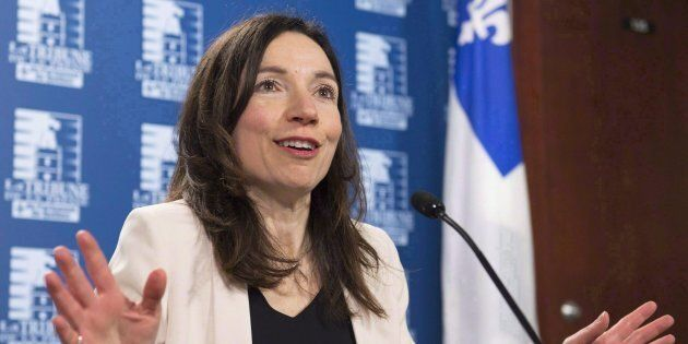 Bloc Quebecois Leader Martine Ouellet speaks at a news conference in Quebec City on March 14,
