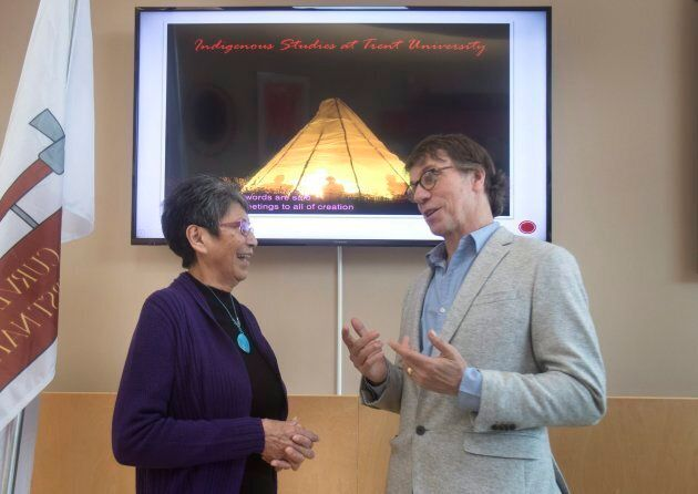 Mike Downie and Pearl Wenjack attend the opening of the Chanie Wenjack School for Indigenous Studies...