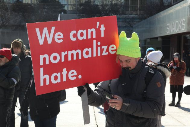A protester during a clash over the M-103 motion to fight Islamophobia in downtown Toronto on Mar. 4,