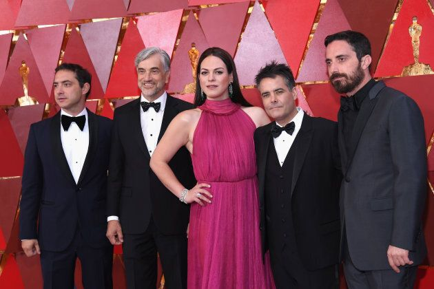 (L-R) Producer Juan de Dios Larrain, producer Francisco Reyes Morande, actress Daniela Vega, director...