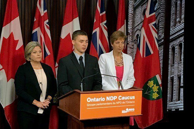 Noah Irvine is pictured speaking in favour of Bill 149, which aims to establish a mental health ministry in Ontario, with Ontario NDP Leader Andrea Horwath and the party's health critic France Gélinas.