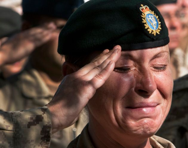A Canadian soldier during a Remembrance Day ceremony at Kandahar Air Field, on Nov. 11,
