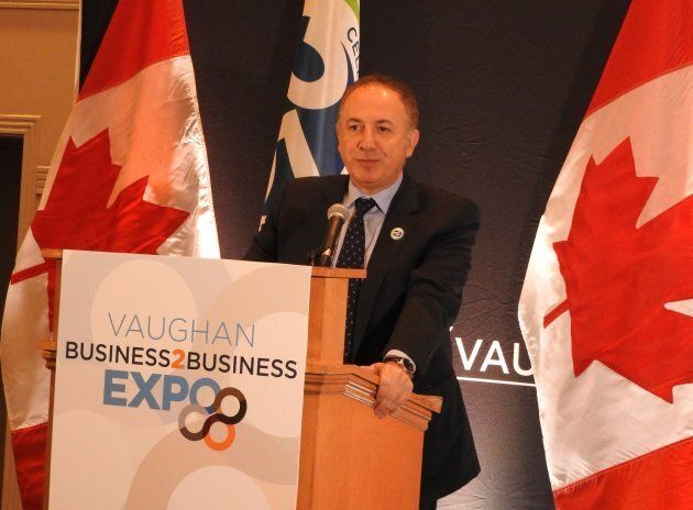 Vaughan Mayor Maurizio Bevilacqua speaking at the Vaughan Business-to-Business Expo and Trade