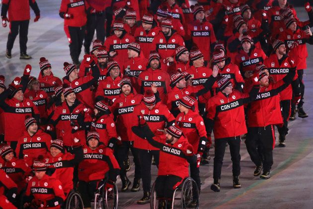 Athletes of Canada walk in during the opening ceremony of the Pyeongchang 2018 Paralympic Games at the...