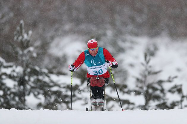Chris Klebl of Canada in action during a Cross-Country training session ahead of the Pyeongchang 2018 Paralympic Games on March 8, 2018 in Pyeongchang, South Korea.