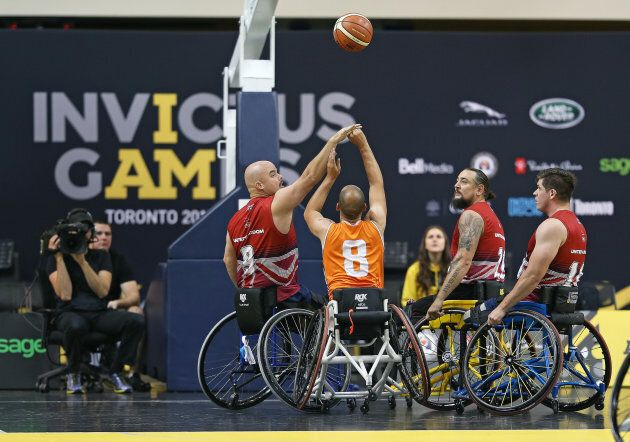 Team United Kingdom plays Team Netherlands in a semi-final game on Day Eight in Wheelchair Basketball during the 2017 Invictus Games in Toronto, Ont.