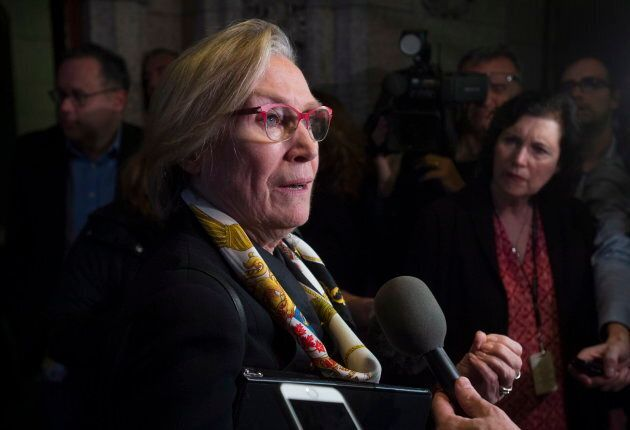 Crown-Indigenous relations and northern affairs Minister Carolyn Bennett speaks with the media in the...