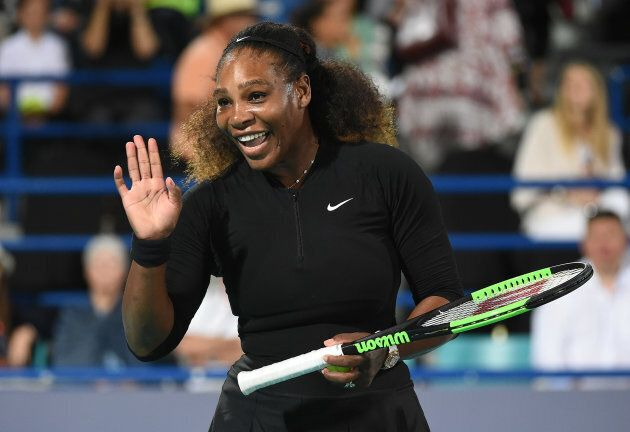 Serena Williams of United States smiles during her Ladies Final match against Jelena Ostapenko of Latvia on day three of the Mubadala World Tennis Championship at International Tennis Centre Zayed Sports City on December 30, 2017.