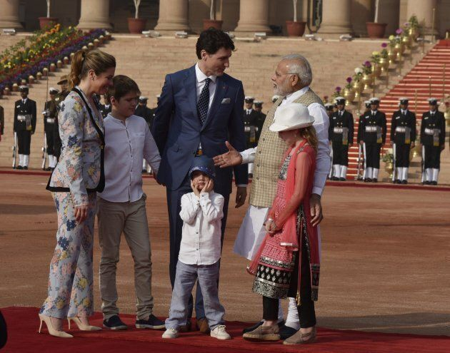 Prime Minister Justin Trudeau and his family meet Indian MP Narendra Modi at the ceremonial reception...