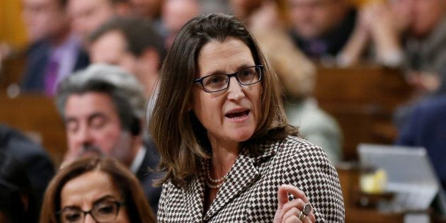 Foreign Minister Chrystia Freeland speaks during Question Period in the House of Commons Dec. 12,