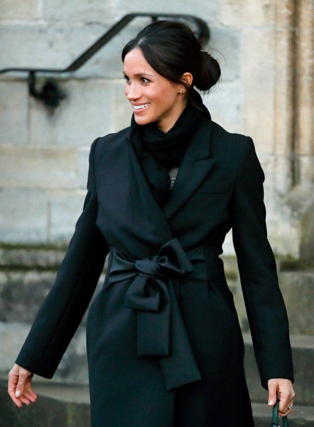 Meghan Markle wearing a Stella McCartney coat to visit Cardiff Castle on Jan. 18, 2018.
