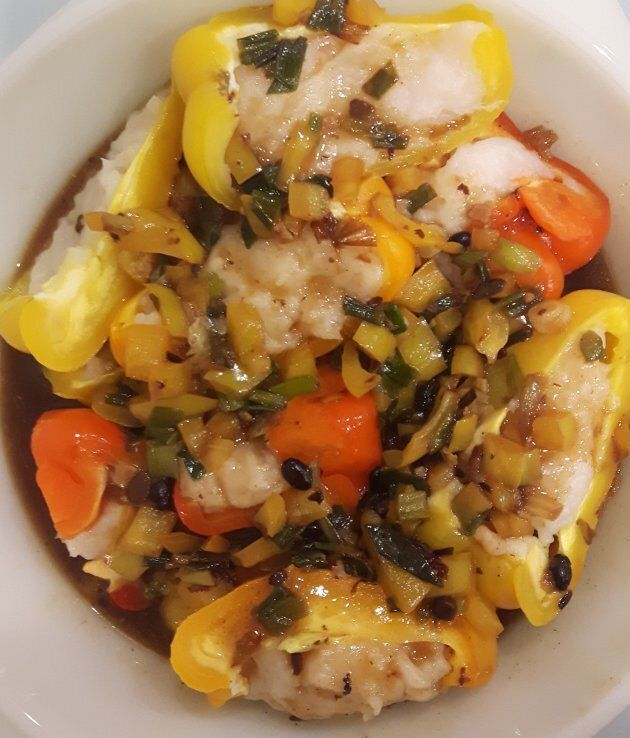 My favourite dish to make: peppers stuffed with fish paste and black bean
