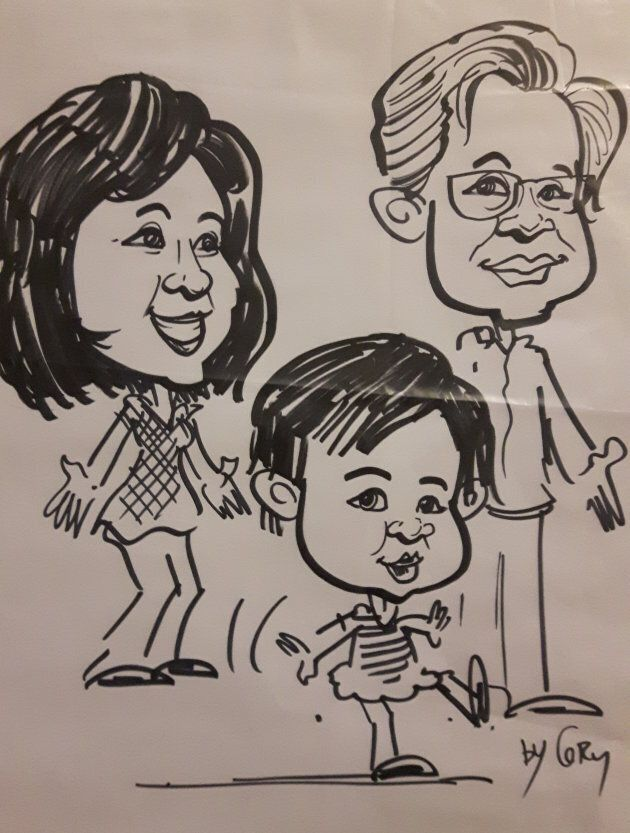 A cartoon of my parents and my daughter.