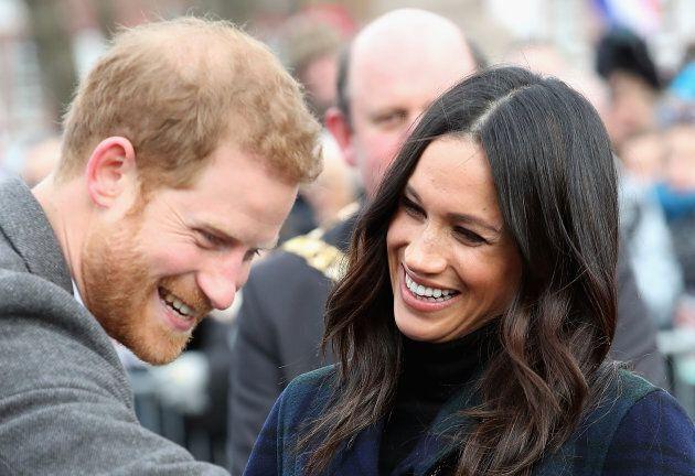 Prince Harry and Meghan Markle at Edinburgh Castle on Feb. 13,