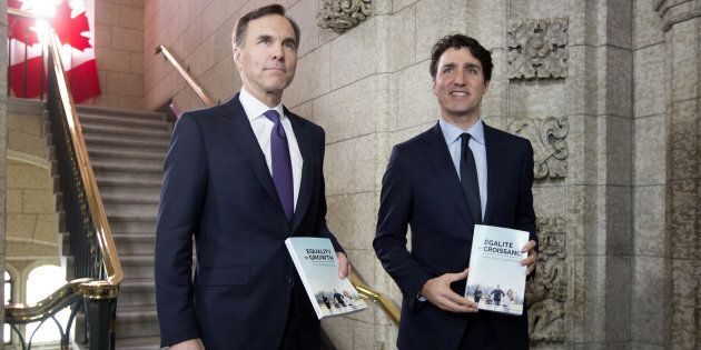 Prime Minister Justin Trudeau, right, and Finance Minister Bill Morneau arrive at the House of Commons...