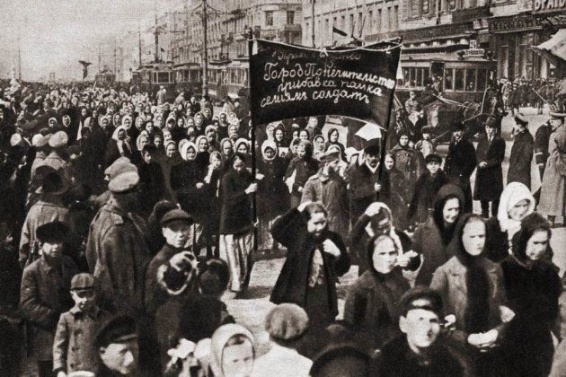The women's demonstration for bread and peace on March 8, 1917, in Petrograd, Russia.