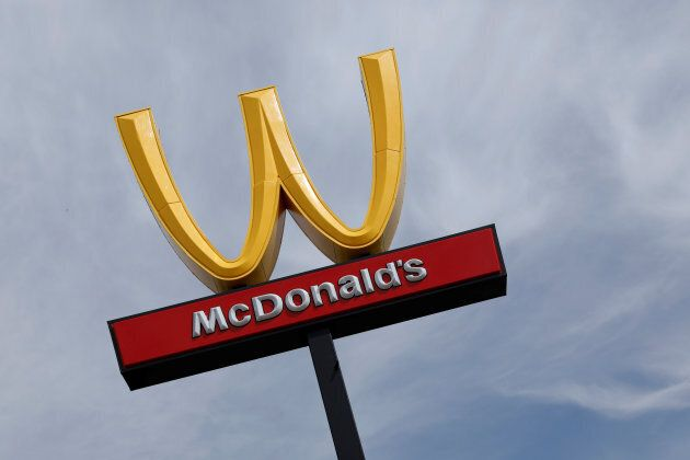 McDonald's iconic 'M' logo is turned upside down in honour of International Women's Day in Lynwood, California,...