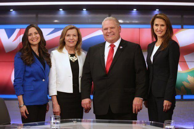 Tanya Granic Allen, Christine Elliott, Doug Ford and Caroline Mulroney on Feb. 15,