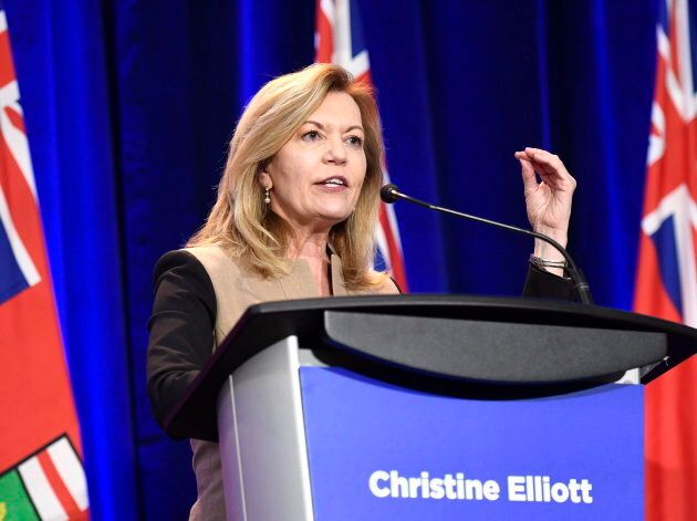 Ontario PC leadership candidate Christine Elliott participates in a debate in Ottawa on Feb. 28,