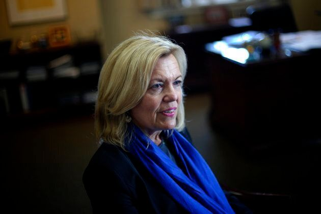 Christine Elliott, MPP and leadership candidate for the Ontario PC party, answers questions during an...