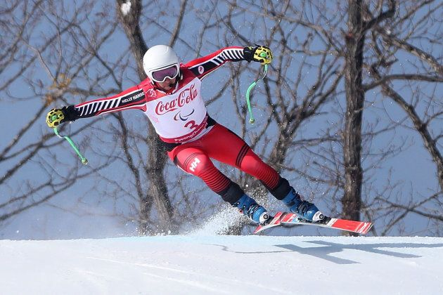Mac Marcoux competes in the Alpine Skiing Men's Downhill, Visually Impaired on day one of the PyeongChang...
