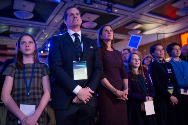 Candidate Caroline Mulroney stands with her family as she attends the Ontario Progressive Conservative...