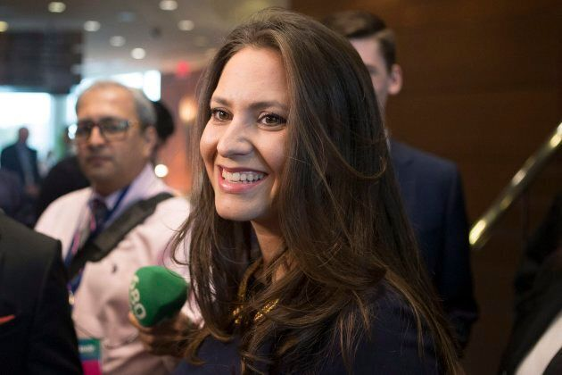 Candidate Tanya Granic Allen talks with media as she attends the Ontario Progressive Conservative Leadership...