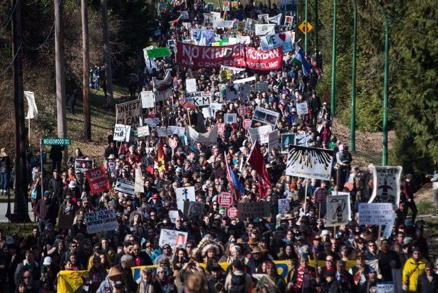 Thousands of people march together during a protest against the Kinder Morgan Trans Mountain pipeline...