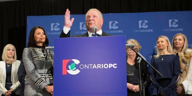 Doug Ford recalls the name of his brother, the late Rob Ford, as he stands at the podium after being...