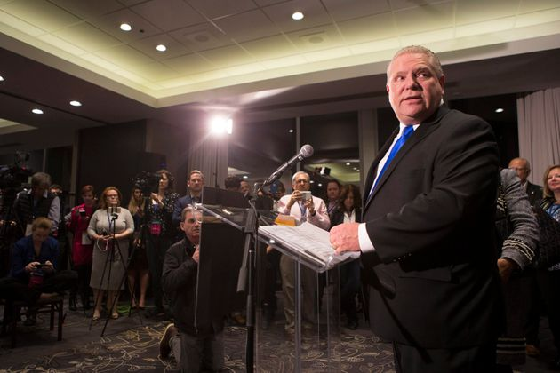 Doug Ford stands at the podium after being named as the newly elected leader of the Ontario Progressive...
