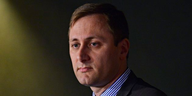 Conservative leadership candidate Brad Trost speaks to media during a press conference held by the Campaign...