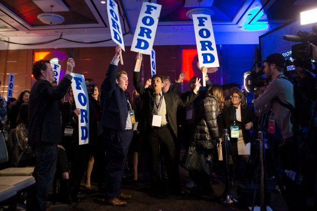 Doug Ford supporters rally during the delay in the Ontario PC Leadership announcement in Markham, Ont.,...