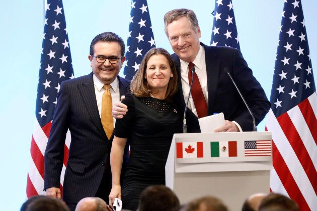 Mexican Economy Minister Ildefonso Guajardo, Canadian Foreign Minister Chrystia Freeland and U.S. Trade Representative Robert Lighthizer smile during a joint news conference on the closing of the seventh round of NAFTA talks in Mexico City, Mexico on March 5, 2018.